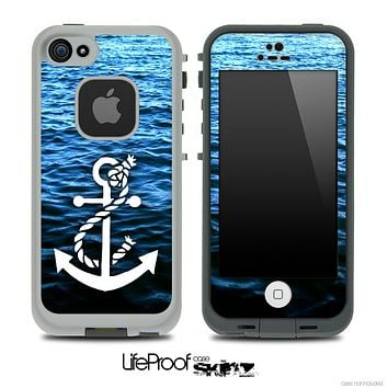 Rough Water and White Anchor V3 Skin for the iPhone 5 or 4/4s LifeProof Case