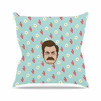 """Juan Paolo """"Give Me All Of The Bacon And Eggs"""" Parks & Recreation Throw Pillow"""