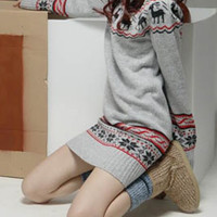 Snow Flakes and Deer Embroidered Sweater