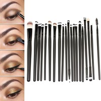 Hotrose® 20 Pcs Cosmetic Makeup Brushes Set Eyeshadow Lip Brush for Girls(black)