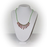 Moonstone and Green Rhinestone Necklace