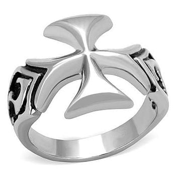 Men's Pinky Rings TK1602 Stainless Steel Ring with Epoxy in Jet
