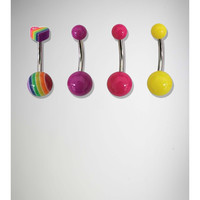 14 Gauge Yellow, Pink, Purple & Rainbow Heart Banana Belly Button Ring 4-Pack
