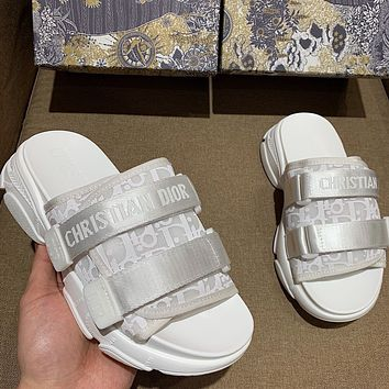 DIOR platform letter print ladies casual slippers outer wear sandals Shoes White