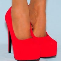 Ladies V7 Red High Heels - Footwear from Designerwear.co.uk UK