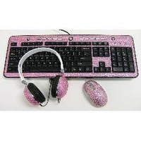 Pink Crystal Mouse, Computer Keyboard, Headphones- Crystal Case-Computers & Electronics-Phones & Communications-Accessories
