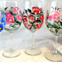 Floral WIne Glasses Hand Painted Free Shipping US only