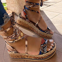 New Summer Women Snake Sandals Platform Heels Cross Strap Ankle Lace Peep Toe  Beach Party Ladies Shoes Zapatos Sandals