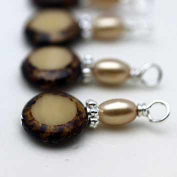 Vintage Style Czech Coin Brown Tortoise Edge and Pearl Bead Dangle Charm Drop Set - 4 Piece