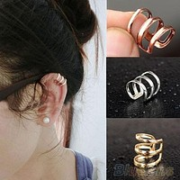 Punk Rock Ear Clip Cuff Wrap Earrings No piercing-Clip On Silver Gold Bronze (With Thanksgiving&Christmas Gift Box)= 1651433860