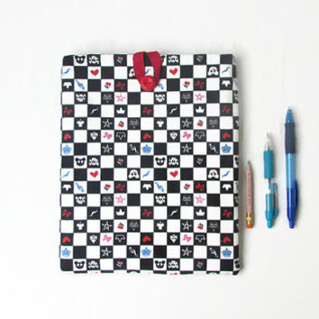 Fabric Ipad cover, 10 inch tablet case, checkerboard tablet sleeve, fabric IPad case, gift for teen, Samsung galaxy 10 handmade in the UK