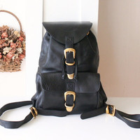 Versace Bag Medusa Black Leahter Vintage Backpack