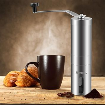 Stainless Steel Manual Coffee Grinder with Adjustable Ceramic Conical Burr