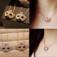 Vintage Retro Style Charm Fox Mask Crystal Pendant Chain Necklace For Women 3C