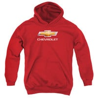 CHEVY/CHEVY BOWTIE STACKED-YOUTH PULL-OVER HOODIE-RED