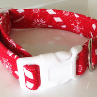 Red Christmas Candy Cane Collar for Cats and Dogs