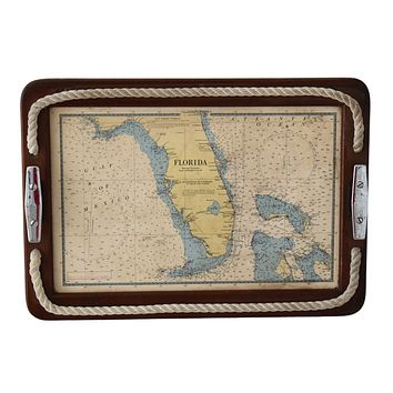 Old Maritime Nautical Tray with 1885 Florida Map Reprint Chrome Cleat Handles Rope Accents Great Coastal Decor