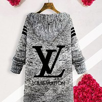 LV Cardigan Louis Vuitton Autumn Classic Casual Hooded Sweater Knit Cardigan Jacket Coat