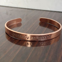 Latitude & Longitude Bracelet Rose Gold latitude bracelet,  Gold bangle bracelet, inside text bracelet, rose gold bangle koordinaten armband