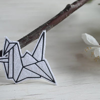 origami crane tumblr patch iron on funny tshirts cute patch origami bird small patch black white monochrome denim jacket patches kids tshirt