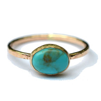 Gold Turquoise Skinny Ring