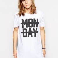 ine T-Shirt With Monday Print And Skater Fit