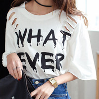White Distressed Bat Sleeve Whatever T-shirt