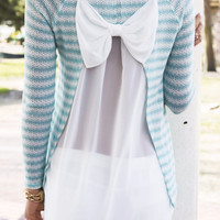 Sweet Simplicity Mint Striped Bow Back Top