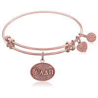 Expandable Bangle in Pink Tone Brass with Alpha Delta Pi Symbol