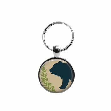 Bear pendant key ring, choice of silver or bronze