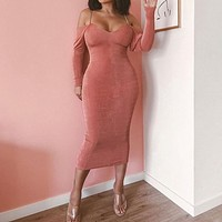 Long Sleeve Strap Chain Backless Maxi Dress