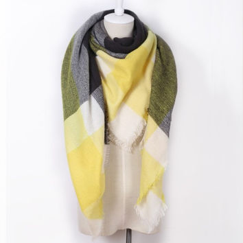 Piper Plaid Scarf in Yellow & Gray