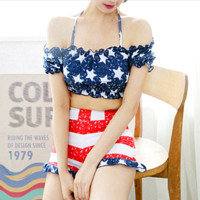 Fashion American flag star print off shoulder halter two piece bikini