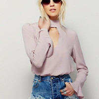 Hollow Solid Color High collar Long Sleeve blouse