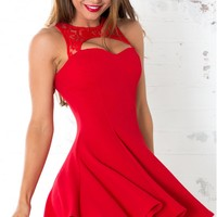 Undercover dress in red - little red dress with a heart shaped neckline framed in a lace cutout | SHOWPO Fashion Online Shopping