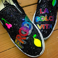 MARINA And The DIAMONDS FROOT La Dolce Vita handpainted black rainbow holographic glitter neon fruit custom slip on vans sneakers any size