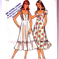 """1970's Misses' Dress. Vintage Sewing Pattern. Two Boho Styles. Peasant Dress / Gypsy Dress. Style 1942. Bust 36"""""""