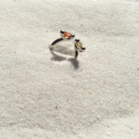 Organic open ring with beautiful warm, sunny double accent stones, Original design, High polished sterling silver ring