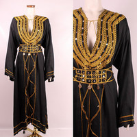 Vintage 60s 70s - Ornate Ethnic Tribal Gold Embroidered Brocade Bric a Brac Gold Beaded Coin Long Caftan Maxi Dress - Boho Hippie Gypsy