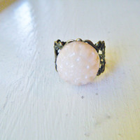 Vintage Mum Flower Button Adjustable Ring