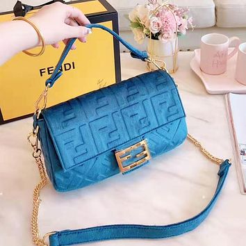 FENDI Fashion Women Shopping Leather Velvet Handbag Satchel Crossbody Shoulder Bag