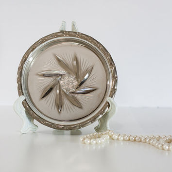 Vanity Tray Silver Plated & Inner Crystal Glass Round Tray, Business Card Holder, Tabletop Display Silver Plate and Crystal, Hallmark