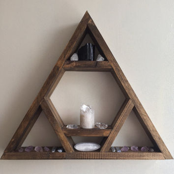 Triangle shelf, display shelf, crystal shelf, gems, skulls, jewellery, wood pyramid, geometric