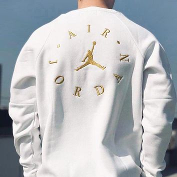 Jordan New fashion embroidery letter people couple long sleeve top sweater White