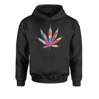 Tie Dye Pot Leaf Youth-Sized Hoodie