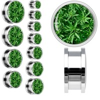 Field of Leaves Screw Fit Plug in Stainless Steel