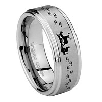 8mm Deer Hunting Step Edges Brushed Tungsten Carbide Mens Anniversary Ring
