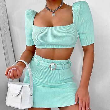 Summer new women solid color top and skirt two piece suit Green