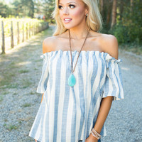 Laguna Afternoon Stripe Off Shoulder Top Blue/White