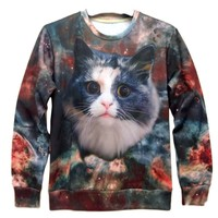 Space Kitty Universe Galaxy Graphic Print Crew Neck Sweatshirt Sweater | Gifts for Cat Lovers